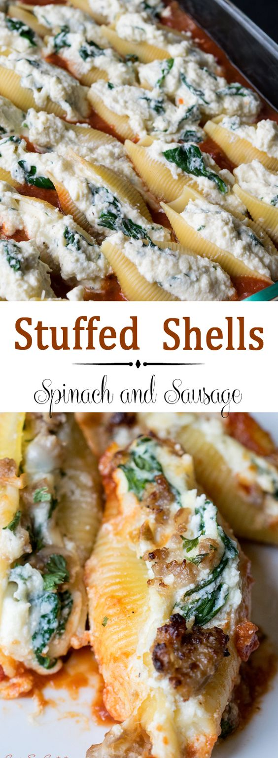 SAUSAGE STUFFED SHELLS WITH SPINACH RECIPE
