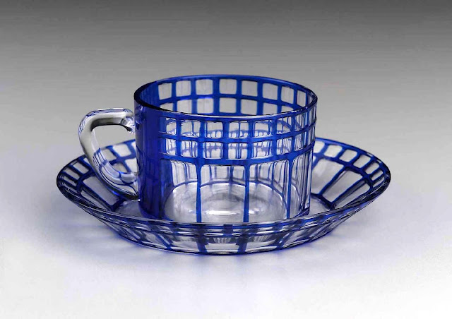 1907 secession blue glass cup & saucer, Joseph Hoffmann