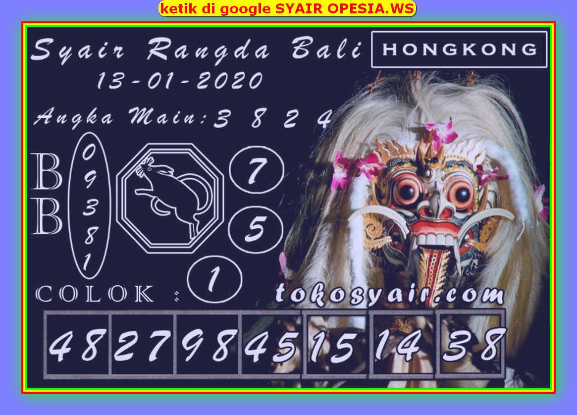 Kode syair Hongkong Senin 13 Januari 2020 190