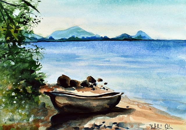 Old Carved Boat at Lake Malawi watercolor painting by Dora Hathazi Mendes