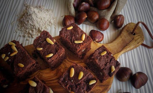 brownies con farina di castagne e cioccolato