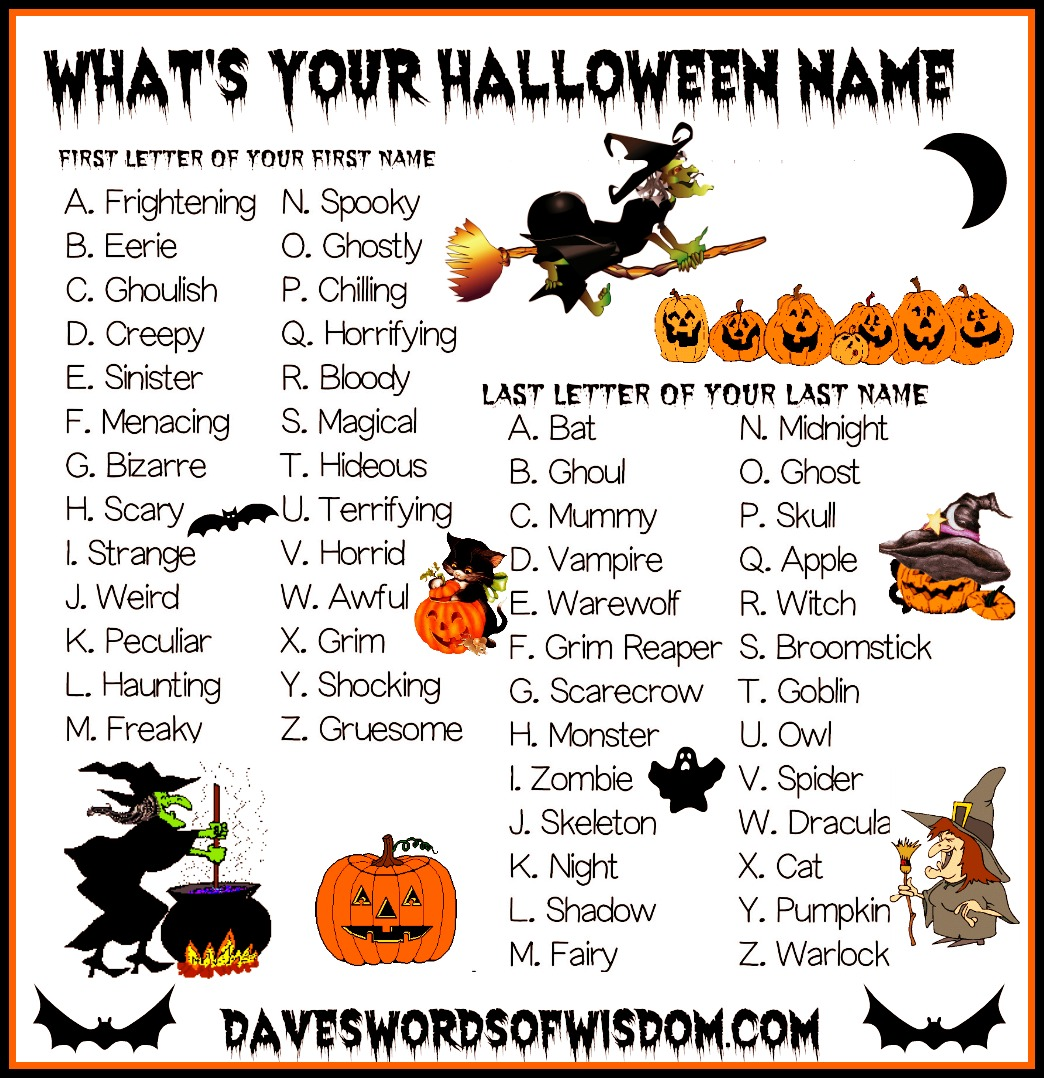 Daveswordsofwisdom Com What S Your Halloween Name