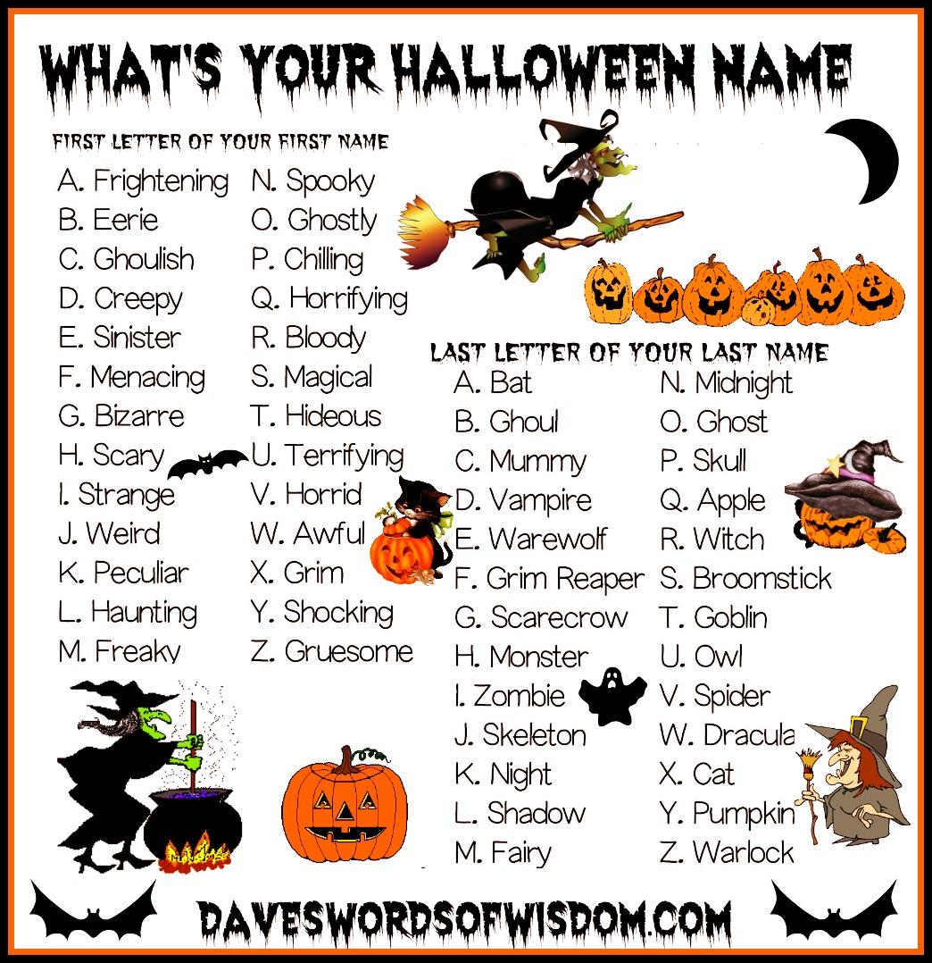 Daveswordsofwisdom What S Your Halloween Name