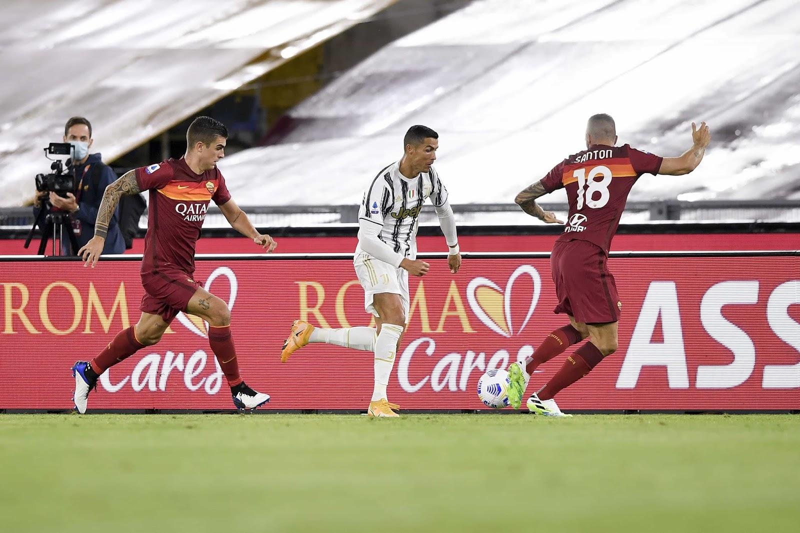 El doblete de Cristiano Ronaldo no le alcanzó a la Juventus que empató con la Roma