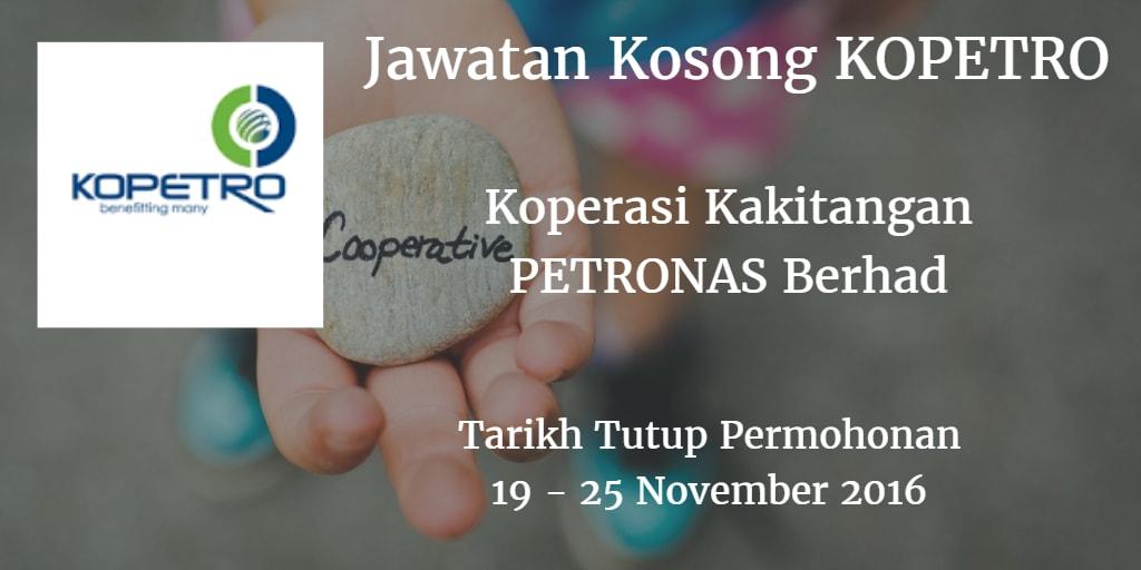 Jawatan Kosong KOPETRO 19 - 25 November 2016