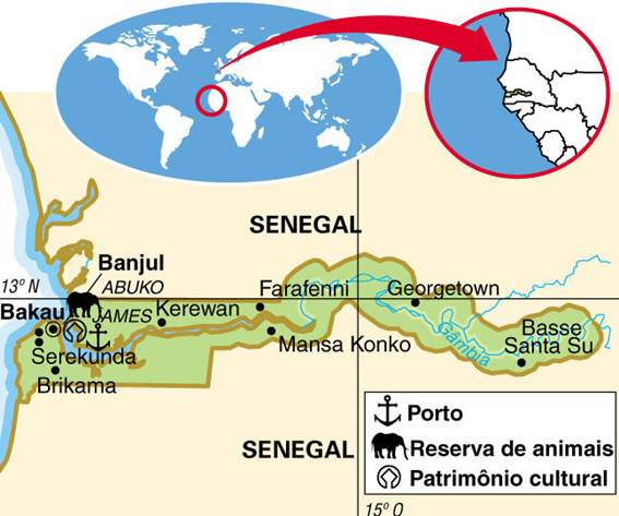 GÂMBIA, ASPECTOS GEOGRÁFICOS E SOCIOECONÔMICOS DE GÂMBIA