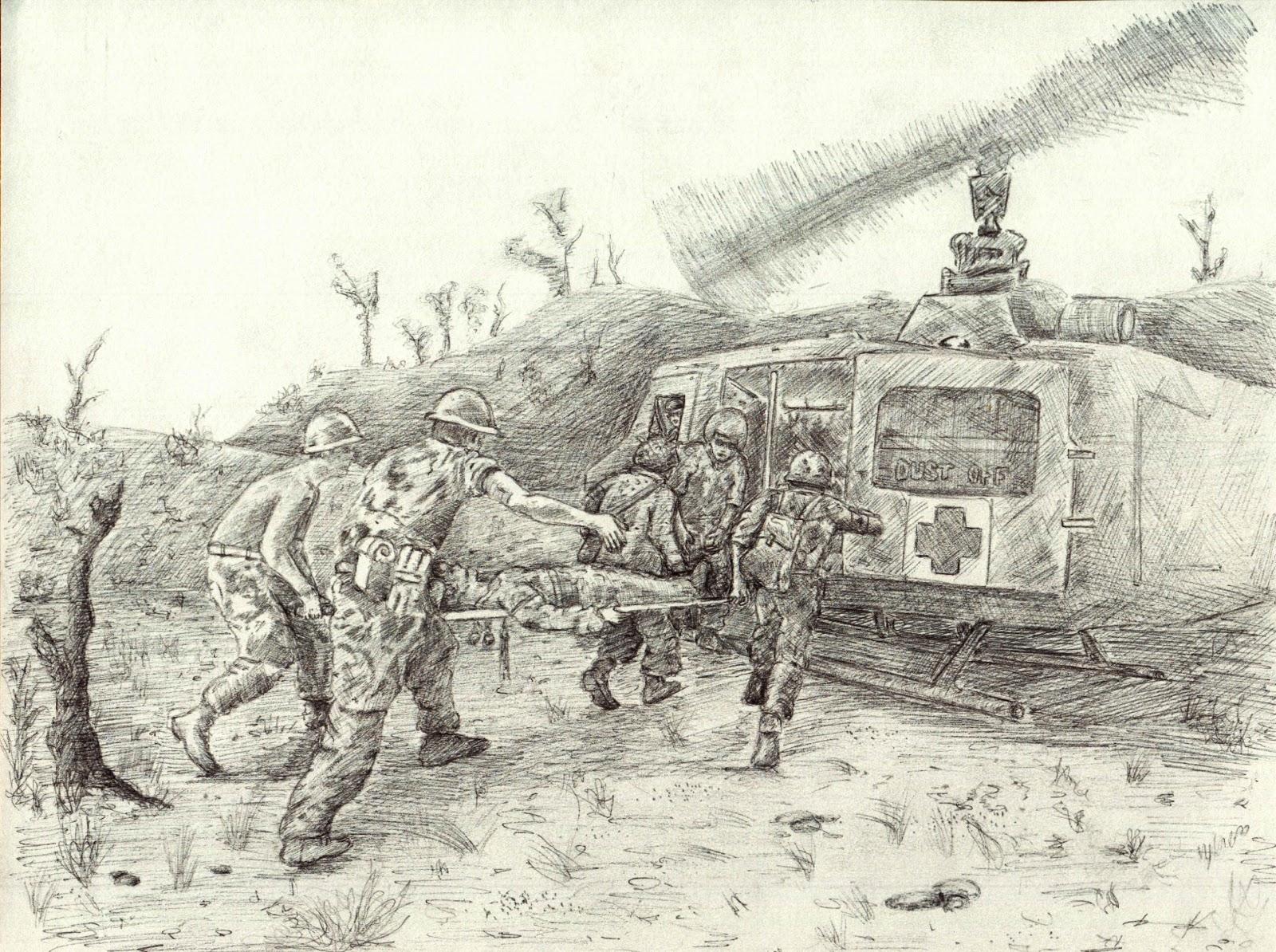 Elliot's Illustration: Final war medic drawings.