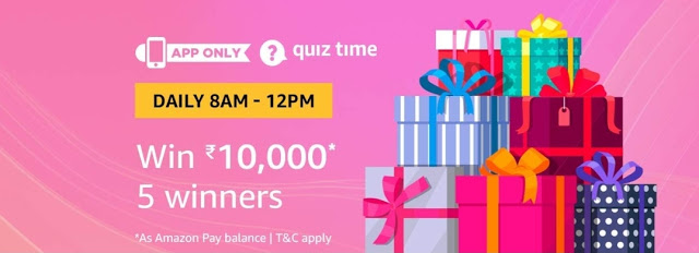 Amazon Quiz Time 11 Jan Answers - Win Rs. 10000
