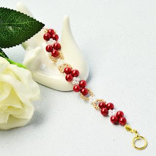 d37a966ed8aa Accesorios de Moda: Pulsera de perlas de perlas rojas delicadas