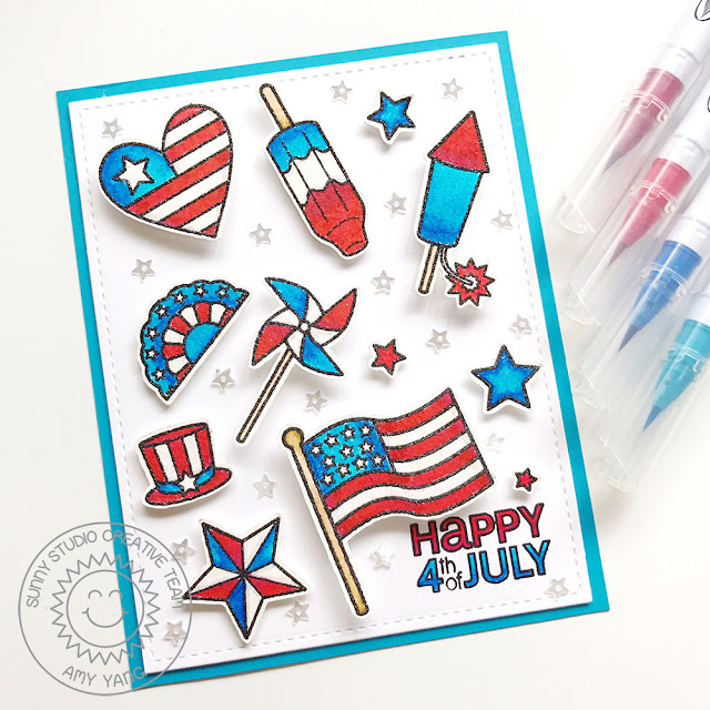 Sunny Studio Stamps: Stars & Stripes Patriotic 4th Of July Card by Amy Yang