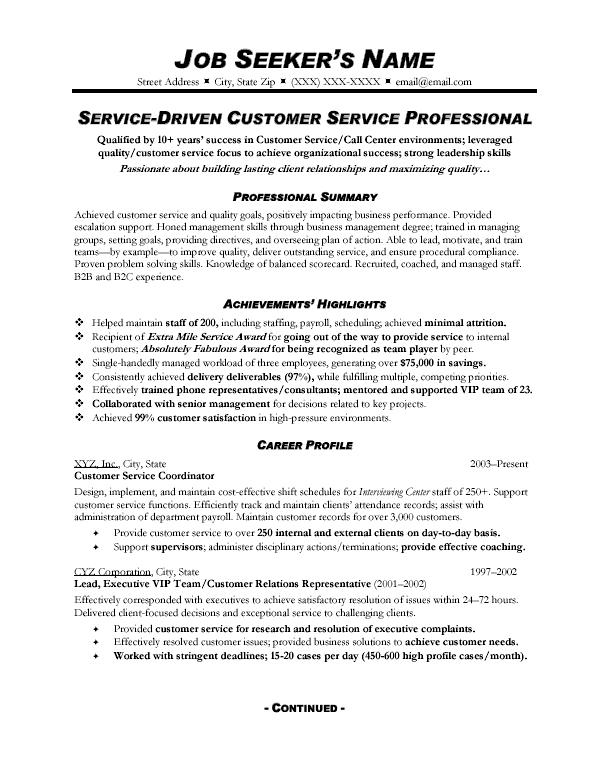 customer service resume samples free