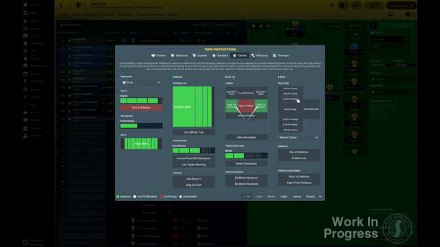 Team Instructions in Football Manager 2018
