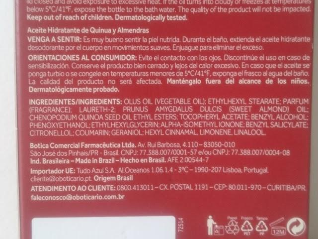 Resenha: Óleo Hidratante Quinoa & Amêndoas Nativa SPA - O Boticário