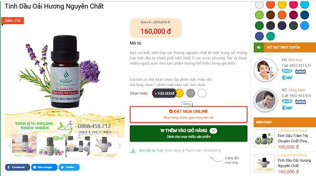 Tính năng chọn màu và đổi giá tùy theo màu sắc sản phẩm trong Tinhdauonline Premium