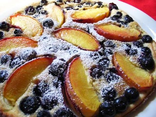 Baked Blueberry & Peach Pancakes