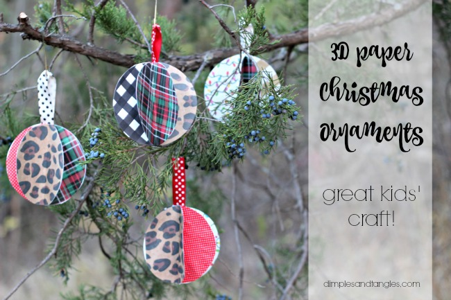 3d Paper Christmas Ornaments Dimples And Tangles