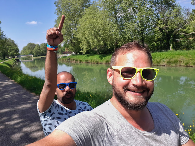 Cycling from Auvillar to Moissac on a tandem bike