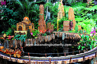 @NYBG New York Botanical Garden Holiday Train Show 2017 #HTSnybg, Chrysler Building, Buildings reflected on water
