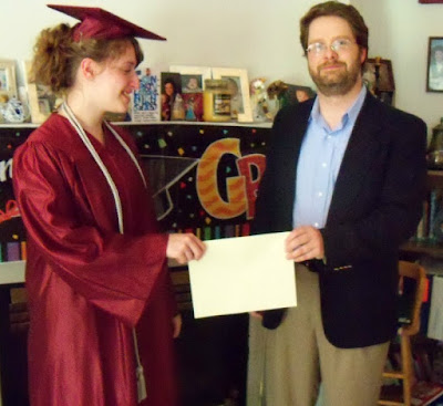 2013 Dad presnets BooBear with her printed paper homemade diploma