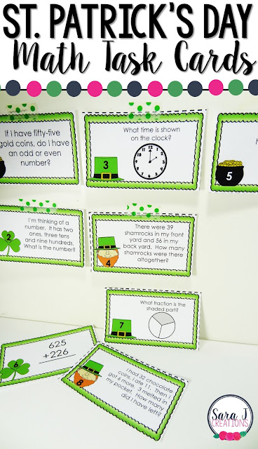 St Patrick's Day Math Task cards are a great way to practice math skills such as money, time, place value and more.