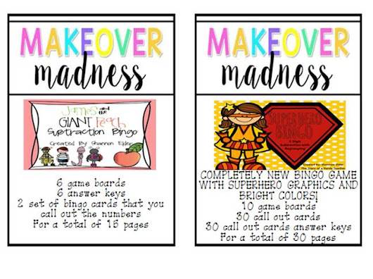 Makeover Madness - Superhero 3 Digit Subtraction Bingo