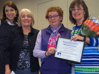 Mary Jo Katras,Silvia Alvarez de Davila, Kathy Olson, and Debra Landvik Letendre at NEAFCS award ceremony.
