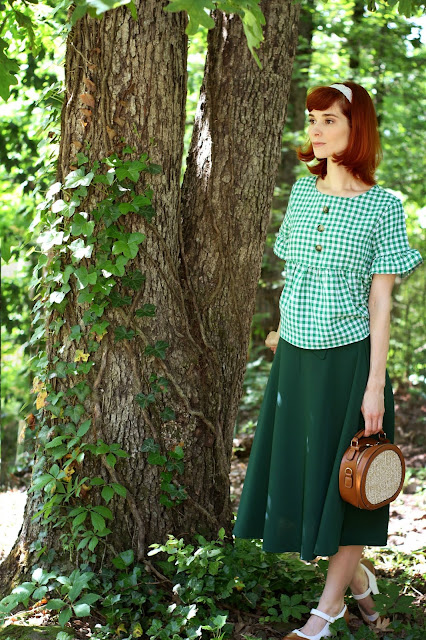 Round Straw Bag Green Gingham Top and Green ChicWish Skirt