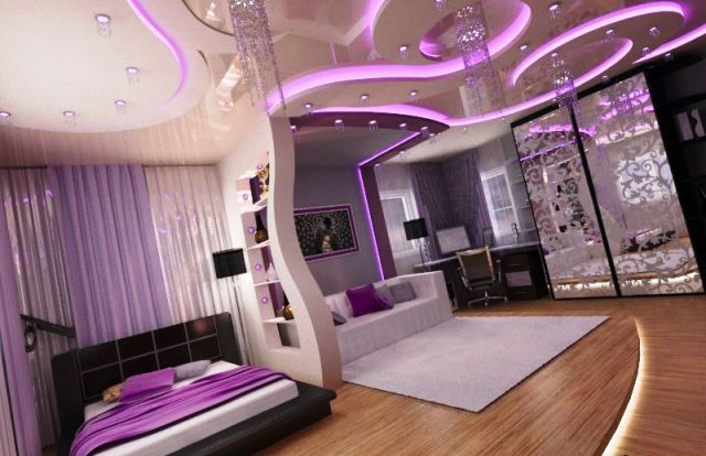 impressive POP ceiling design ideas with purple lighting for bedroom with purple themed Pop wall design