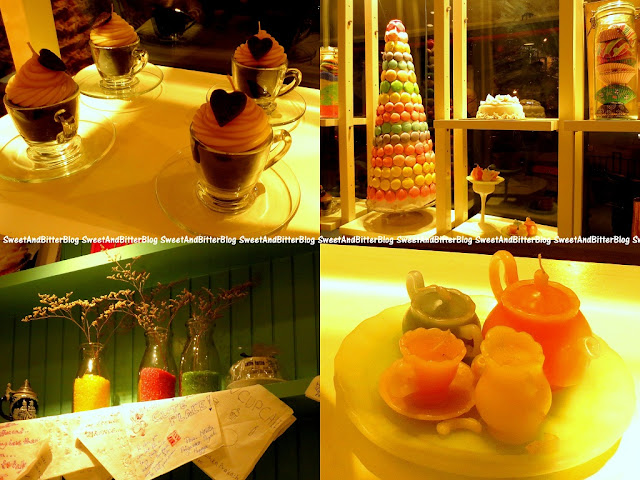 Tea cups with heart candle, Macaroon Mountain, Tea Set with Pots and Cups candle, Colored sugar inside milk bottles which are also used to serve milkshakes