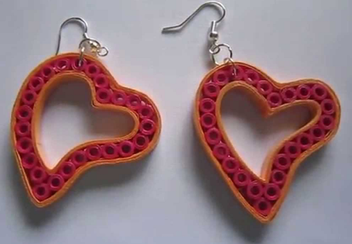 Quilling Earrings Designs Latest : Heart Shape Quilling Earring Designs - Quilling designs