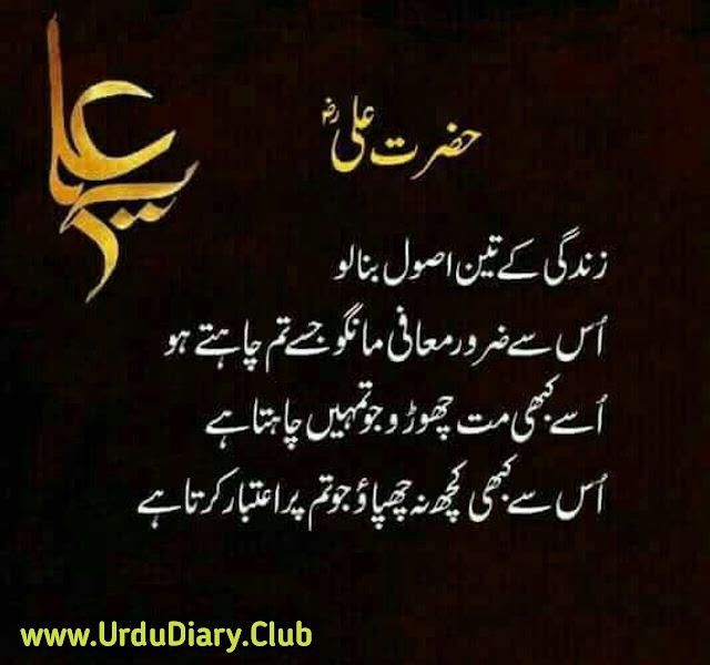 Best Hazrat Ali Quotes Images In Urdu - Zindagi k 3 asool bana lo