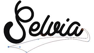 teks tipografi, edit objek, curva tertutup