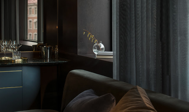 Elegant modern design in standard room at Six Hotel in Stockholm