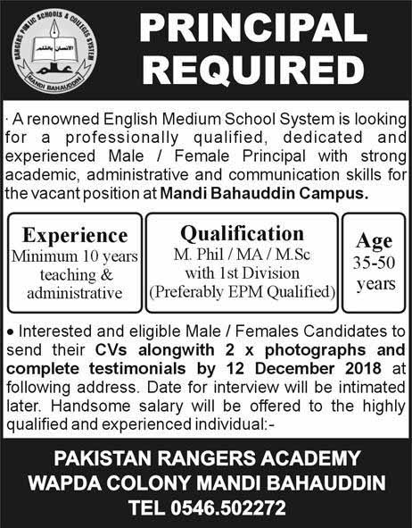 Principal Required in Mandi Bahauddin Campus