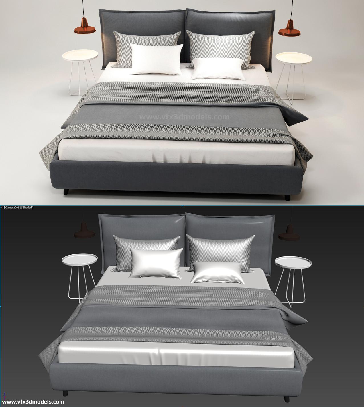 Vfx 3D Models : DOWNLOAD HQ BED 3D MODEL FREE