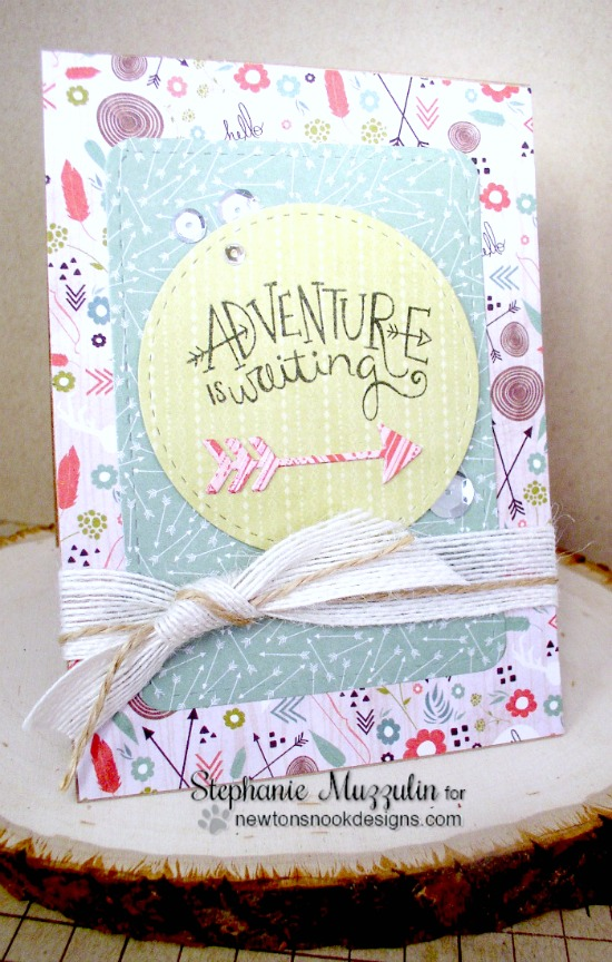 Adventure is waiting card by Stephanie Muzzulin | Points & Plumes dies & Adventure Awaits stamp set by Newton's Nook Designs #newtonsnook