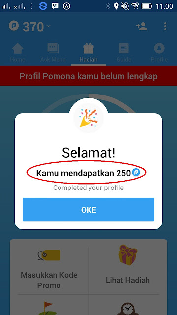 melengkapi profil dapat rewards tambahan dari aplikasi Pomona Android