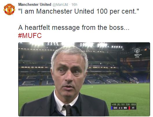 'I am Manchester United 100 %'- Emotional Jose Mourinho says after Chelsea thrashing