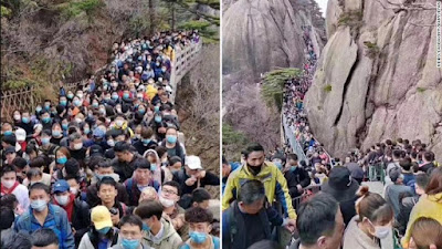 Large numbers of people flocked to popular tourists sites and major cities across China over the country s holiday weekend...