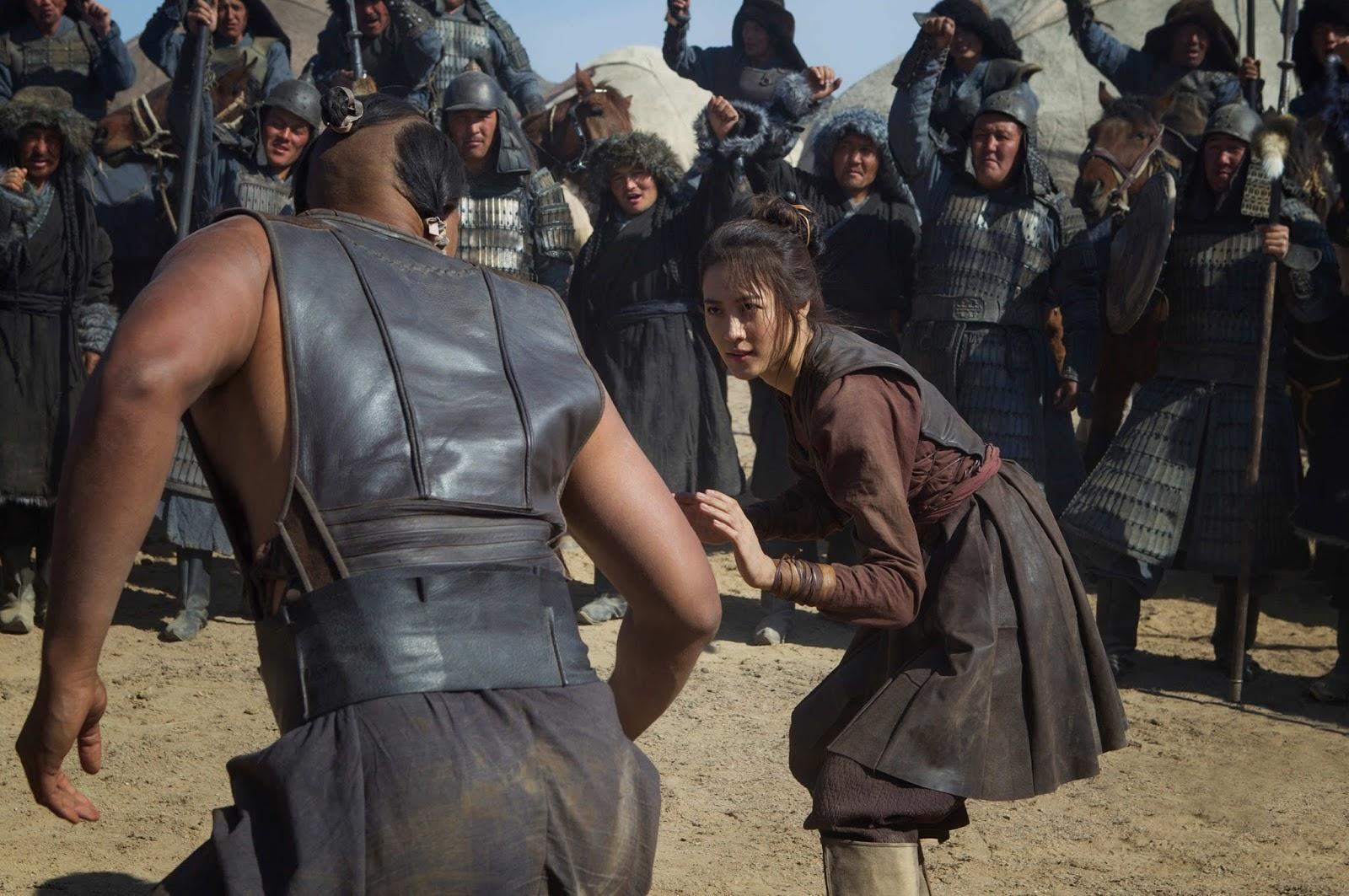 Cena de Claudia Kim interpretando a princesa mongol Khutulun, na série Marco Polo