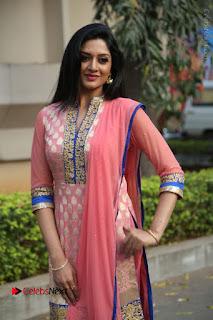 Actress Vimala Raman Stills in Beautiful Pink Salwar Kameez at (ONV) Om Namo Venkatesaya Press Meet  0073.JPG