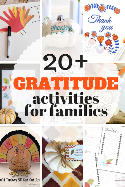 Simple list of gratitude activities for the family.  From crafts, to printables to quick decorations ideas, your family can show they are thankful this Thanksgiving in a new and fun way.