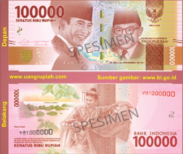Ciri-Ciri dan Gambar Uang Kertas 100 Ribu Rupiah Baru (Tahun Emisi 2016)