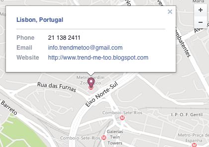 Localização, Trend me too, Mapa, Contactos, Estúdio, Escritório, Horário de Funcionamento