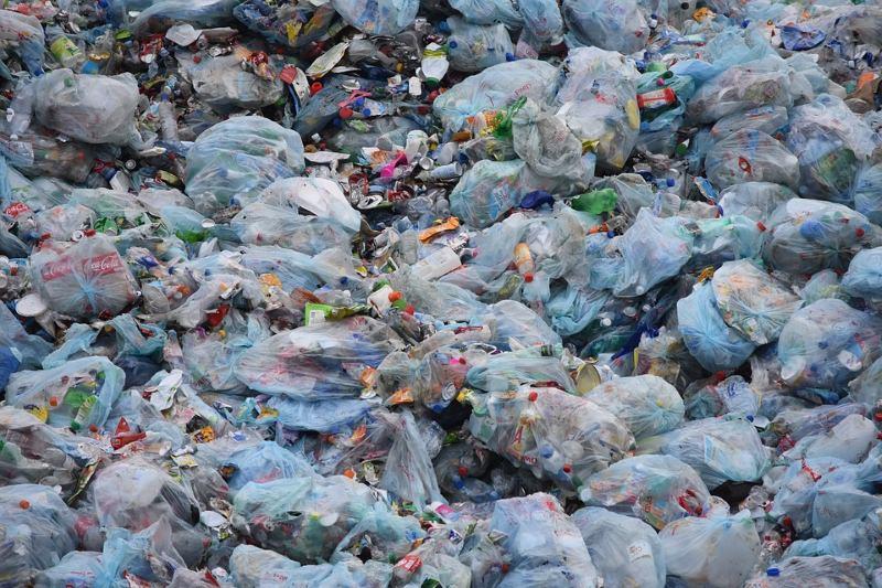 Sacos de plástico com lixo