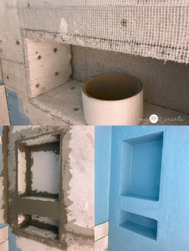 tape, thin set, and add water proofing membrane to shower niche