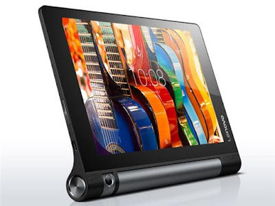 Lenovo Yoga Tab 3 8.0 Specifications - LAUNCH Announced 2015, October  This is not a GSM device, it will not work on any GSM network worldwide DISPLAY Type IPS LCD capacitive touchscreen, 16M colors Size 8.0 inches (~60.7% screen-to-body ratio) Resolution 800 x 1280 pixels (~189 ppi pixel density) Multitouch Yes BODY Dimensions 209.8 x 145.8 x 7 mm (8.26 x 5.74 x 0.28 in) Weight 467.2 g (1.03 lb) SIM No  - Built-in 3-stage kickstand PLATFORM OS Android OS, v5.1 (Lollipop) CPU Quad-core 1.1 GHz Cortex-A7 Chipset Qualcomm MSM8909 Snapdragon 210 GPU Adreno 304 MEMORY Card slot microSD, up to 256 GB (dedicated slot) Internal 16 GB, 1 GB RAM CAMERA Primary 8 MP, autofocus Secondary No Features Rotating lens Video Yes NETWORK Technology No cellular connectivity 2G bands N/A GPRS No EDGE No COMMS WLAN Wi-Fi 802.11 b/g/n GPS Yes USB microUSB v2.0 Radio No Bluetooth v4.0 FEATURES Sensors Accelerometer Messaging Email, Push Email, IM Browser HTML5 Java No SOUND Alert types Vibration; MP3, WAV ringtones Loudspeaker Yes, with stereo speakers 3.5mm jack Yes  - Dolby Atmos BATTERY  Non-removable Li-Ion 6200 mAh battery Stand-by Up to 2280 h Talk time Up to 20 h Music play  MISC Colors Black  - MP3/WAV/WMA/AAC player - MP4/H.264 player - Document viewer - Photo/video editor