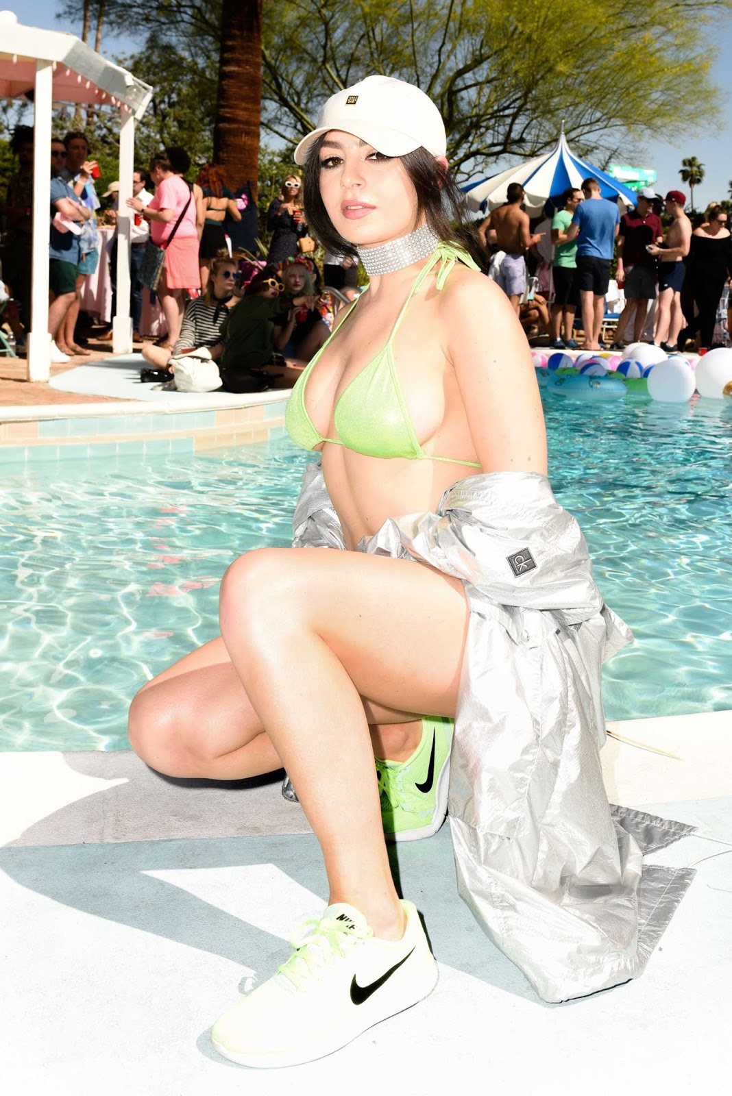 Charli XCX in Bikini, Galore x Grindr Pool Party at Coachella in Palm Springs