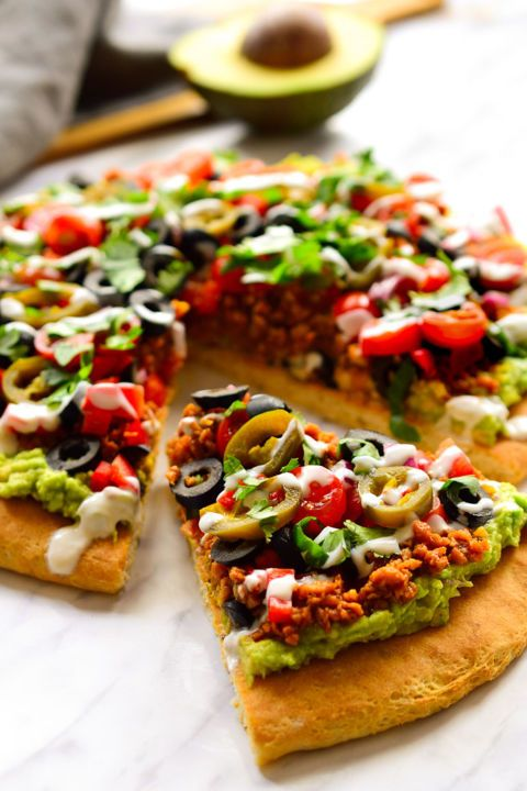 How have we never thought of guacamole as a pizza base until now?!  Get the recipe from The Stingy Vegan