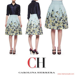 Queen Letizia wore Carolina Herrera silk taffeta blouse and Carolina Herrera Flower Fil Coupe Party skirt